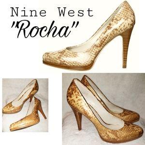 Nine West 'Rocha' Natural Snake Pumps Sz10
